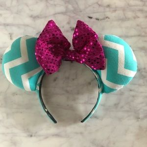 Custom BBB Minnie Ears teal chevron pink sequin